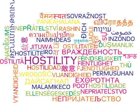hostility: Background concept wordcloud multilanguage international many language illustration of hostility