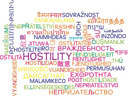 feindschaft: Hintergrund Konzept Wordcloud mehrsprachige internationale vielen Sprach Darstellung der Feindseligkeit Lizenzfreie Bilder