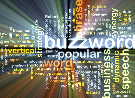 buzzword: Background text pattern concept wordcloud illustration of buzzword glowing light