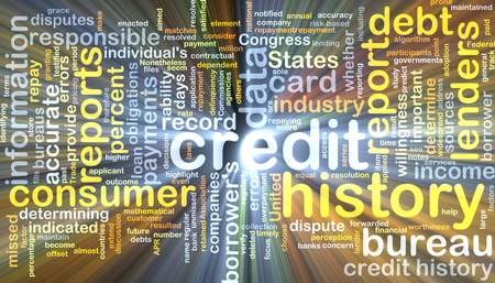 lenders: Background text pattern concept wordcloud illustration of credit history glowing light Stock Photo