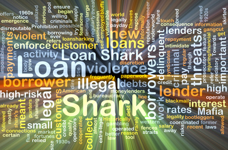 borrower: Background text pattern concept wordcloud illustration of loan shark glowing light