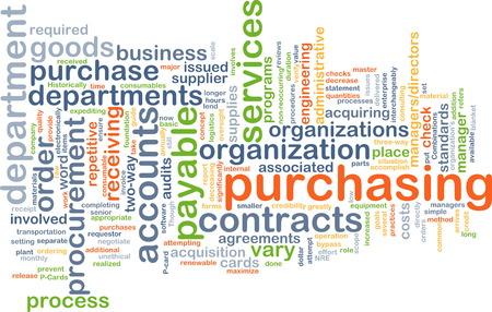 Background text pattern concept wordcloud illustration of purchasing procurement