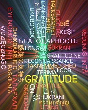 multilanguage: Background concept wordcloud multilanguage international many language illustration of gratitude glowing light