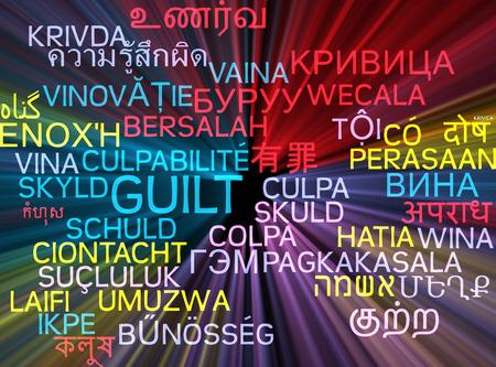 guilt: Background concept wordcloud multilanguage international many language illustration of guilt glowing light
