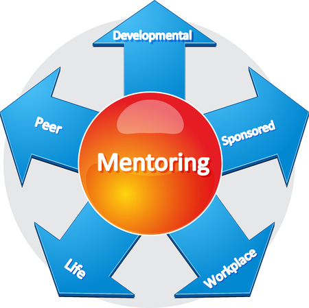 developmental: business strategy concept infographic diagram illustration of usages of mentoring Stock Photo