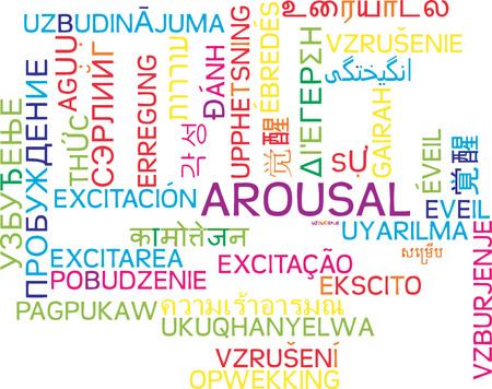 arousal: Background concept wordcloud multilanguage international many language illustration of arousal Stock Photo
