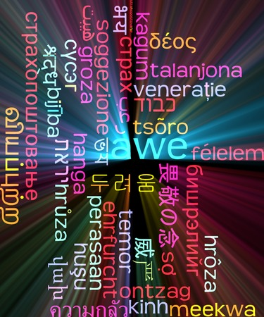 Background concept wordcloud multilanguage international many language illustration of awe glowing light Stock Photo