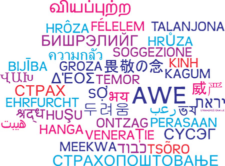 Background concept wordcloud multilanguage international many language illustration of awe Stock Photo