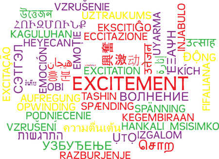 excitement: Background concept wordcloud multilanguage international many language illustration of excitement