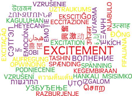 Background concept wordcloud multilanguage international many language illustration of excitement