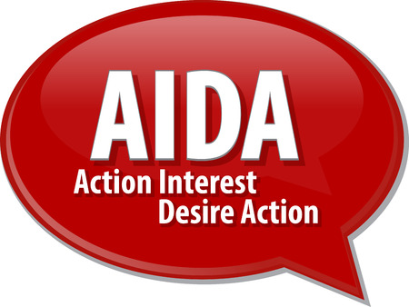 interst: word speech bubble illustration of business acronym term AIDA Action Interst Desire Action Stock Photo
