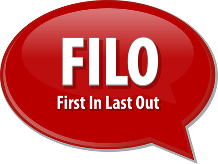 filo: word speech bubble illustration of business acronym term FILO First In Last Out Stock Photo