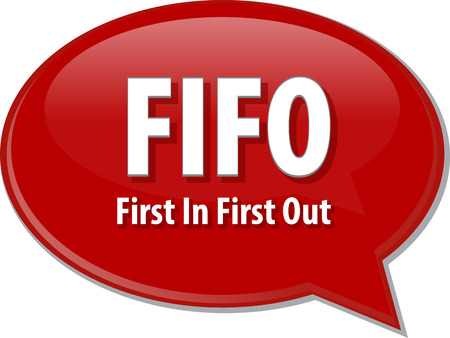 prioritization: word speech bubble illustration of business acronym term First In First Out Stock Photo
