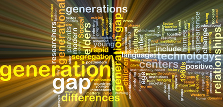 generation gap: Background text pattern concept wordcloud illustration of generation gap glowing light Stock Photo