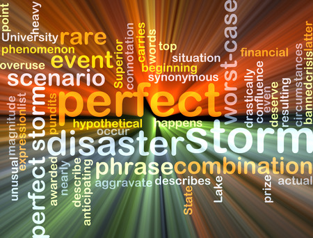 circumstances: Background text pattern concept wordcloud illustration of perfect storm glowing light