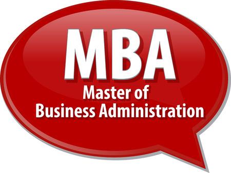 economia aziendale: parola fumetto illustrazione del business acronimo MBA termine Master of Business Administration