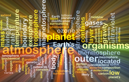 the atmosphere: Background text pattern concept wordcloud illustration of planetary atmosphere glowing light Stock Photo
