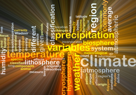 atmospheric: Background text pattern concept wordcloud illustration of climate weather glowing light