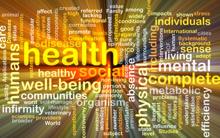 Background text pattern concept wordcloud illustration of health well-being glowing light