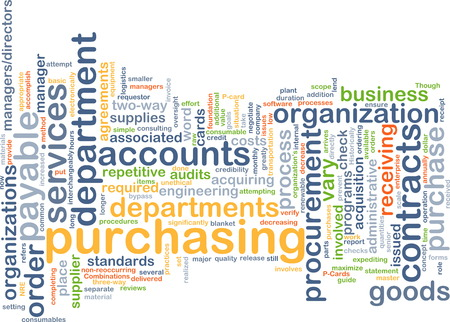accounts payable: Background text pattern concept wordcloud illustration of purchasing procurement