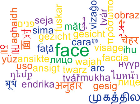foreign bodies: Background concept wordcloud multilanguage international many language illustration of face Stock Photo