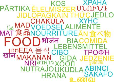 multilanguage: Background concept wordcloud multilanguage international many language illustration of food Stock Photo