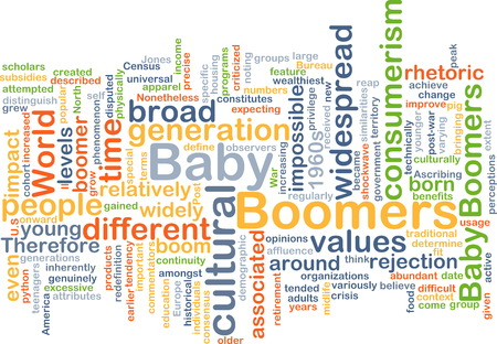 boomers: Background text pattern concept wordcloud illustration of baby boomers generation