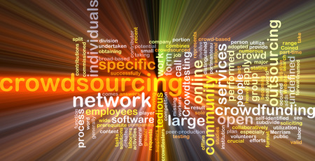 outsourcing: Background text pattern concept wordcloud illustration of crowdsourcing outsourcing glowing light