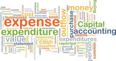 outflow: Background text pattern concept wordcloud illustration of expense expenditure Stock Photo