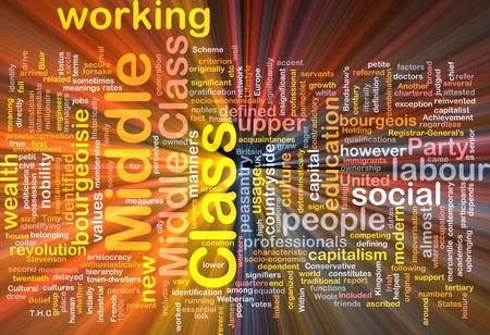 middle class: Texto Antecedentes ilustración modelo wordcloud concepto de la luz resplandeciente de la clase media