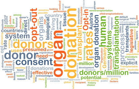 organ donation: Background text pattern concept wordcloud illustration of organ donation
