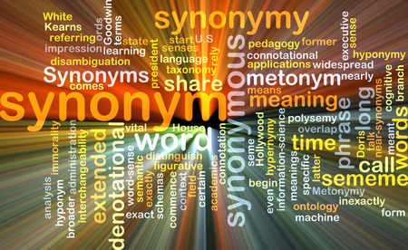 connotation: Background text pattern concept wordcloud illustration of synonym term glowing light