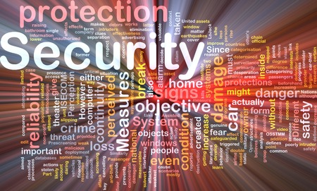 perceived: Background text pattern concept wordcloud illustration of security protection glowing light