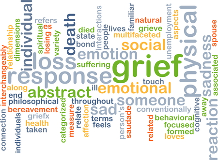 grief: Background text pattern concept wordcloud illustration of grief sadness