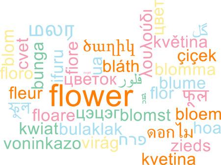 Background concept wordcloud multilanguage international many language illustration of flower illustration