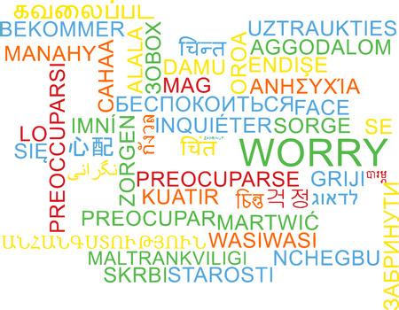 multilanguage: Background concept wordcloud multilanguage international many language illustration of worry Stock Photo