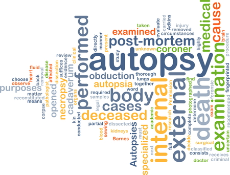 coroner: Background text pattern concept wordcloud illustration of autopsy examination
