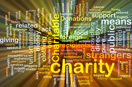 unfortunate: Background text pattern concept wordcloud illustration of charity giving glowing light