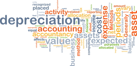 depreciation: Background text pattern concept wordcloud illustration of depreciation accounting