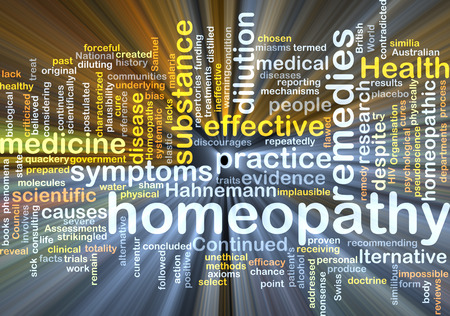 homeopathy: Background text pattern concept wordcloud illustration of homeopathy remedies glowing light