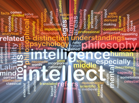 intellect: Background text pattern concept wordcloud illustration of intellect glowing light Stock Photo