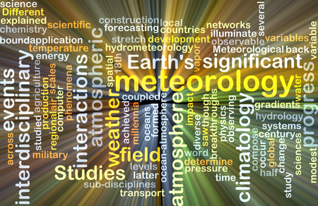climatology: Background text pattern concept wordcloud illustration of meteorology science glowing light