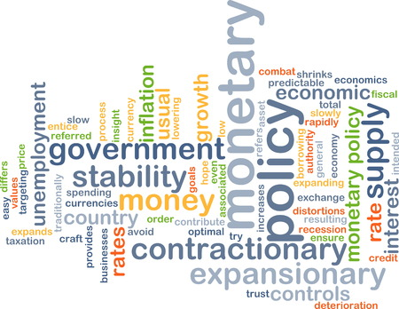 monetary: Background text pattern concept wordcloud illustration of monetary policy