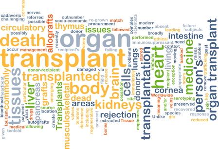 transplant: Background text pattern concept wordcloud illustration of organ transplant