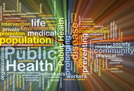 salud publica: Texto Antecedentes ilustración modelo wordcloud concepto de la luz resplandeciente de salud pública Foto de archivo