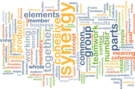 synergy: Background text pattern concept wordcloud illustration of group synergy