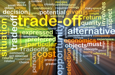 constraints: Background text pattern concept wordcloud illustration of trade-off tradeoff glowing light