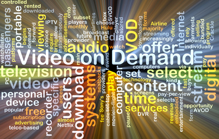 demand: Background text pattern concept wordcloud illustration of Video on Demand VOD glowing light Stock Photo
