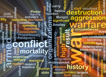Background text pattern concept wordcloud illustration of war conflict glowing light