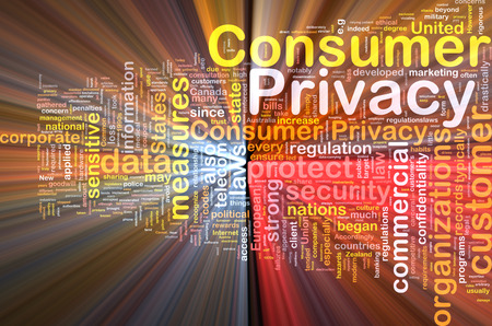 confidentiality: Background concept wordcloud of consumer privacy glowing light